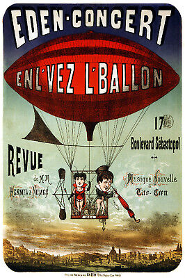 1885 Hot Air Balloon Historic Airship Vintage Style French Poster 16x24
