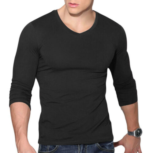 Men/'s V Neck Long Sleeve T-Shirt Slim Fit Casual Solid Color Basic Tee Shirts
