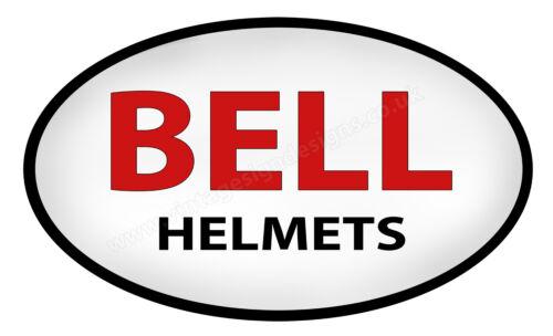"BELL HELMETS OVAL DIGITALLY CUTOUT VINYL STICKER 5/"" X 3/"" OVERALL SIZE"