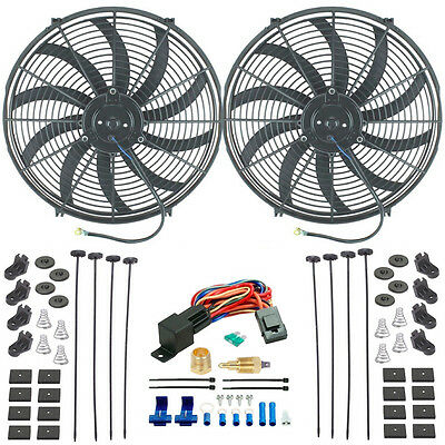 """DUAL 16/"""" INCH ELECTRIC HIGH CFM PULLER FANS 3//8/"""" INCH THERMOSTAT FAN SWITCH KIT"""