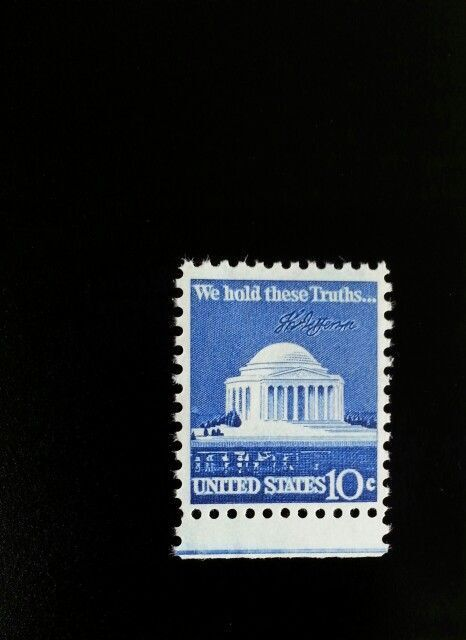 1973 10c Jefferson Memorial, We hold these Truths Scott
