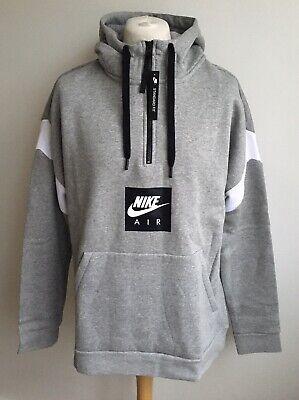 Nike Air Herren Grau Logo Half Zip Hoodie Fleece Pullover Größe XL NEU | eBay