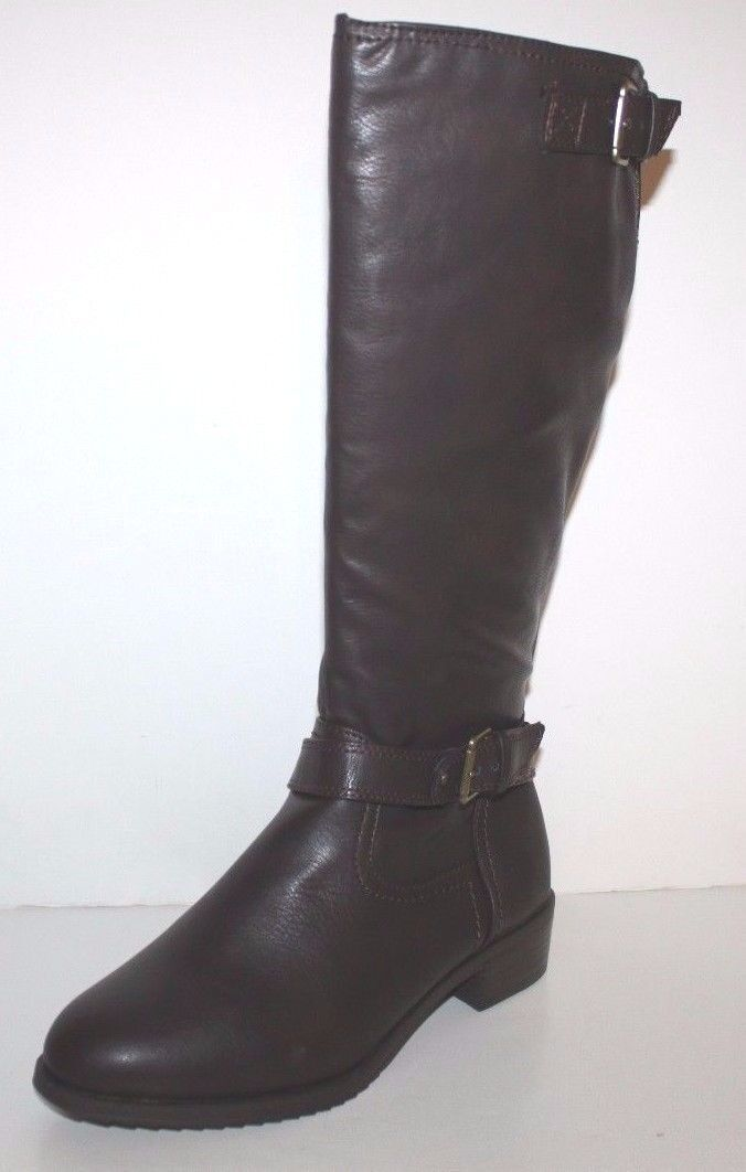 GH Bass NIB mujer mujer mujer 8 8.5 M Alexandra marrón Faux Leather Riding botas w  Buckles  buena reputación