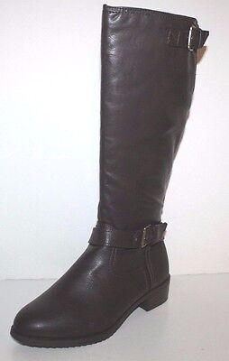 GH Bass NIB Womens 8 8.5 M Alexandra Brown Faux Leather Riding Boots w/ Buckles