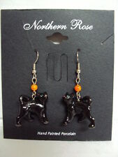 "LITTLE CRITTERZ / NORTHERN ROSE ""ONE PAIR OF BLACK CAT PORCELAIN EAR-RINGS"" NEW"