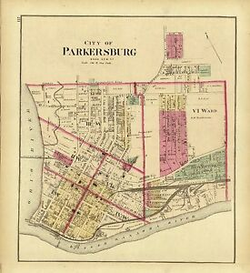 Parkersburg West Virginia Map.1877 Map Atlas Upper Ohio River Parkersburg Wood County West
