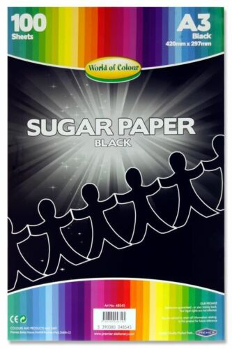 A3 Sugar Paper Black Pack 100 sheets Craft Project Paper 420mm x 297mm