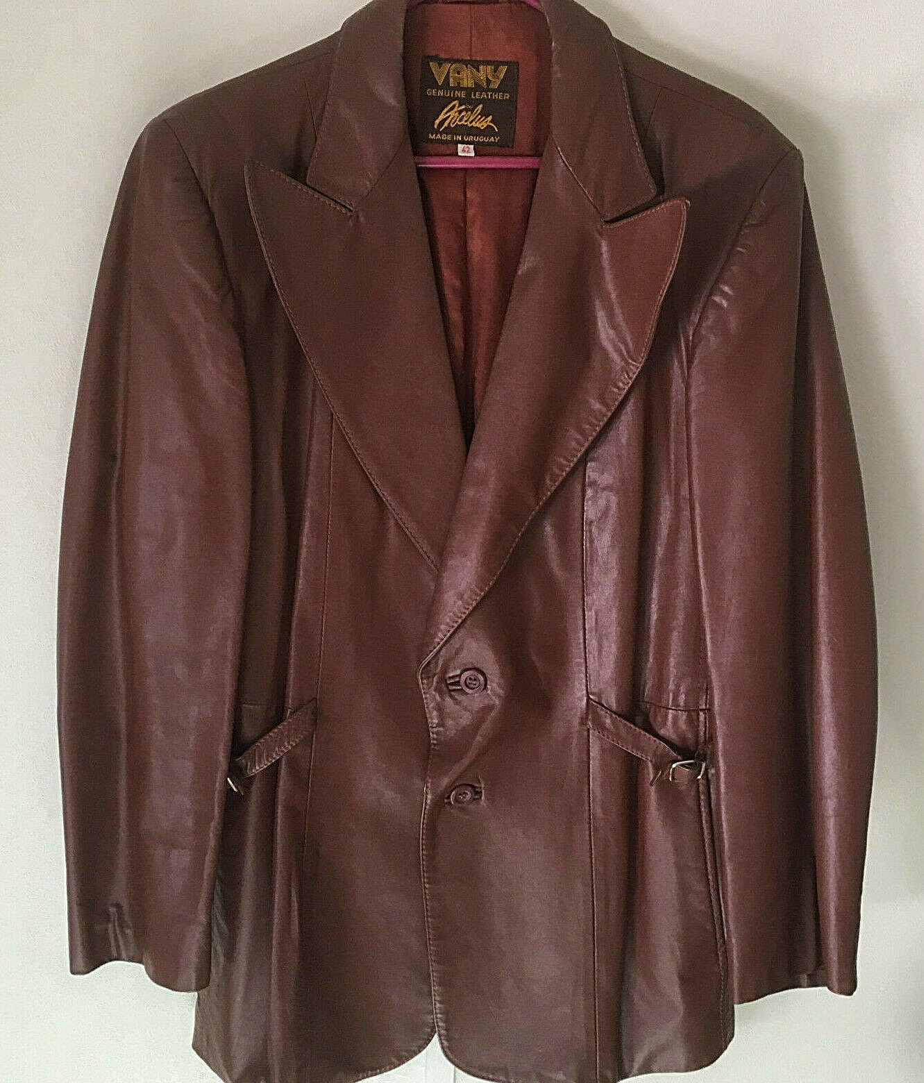 mens vintage leather blazer jacket brown 2 button… - image 1