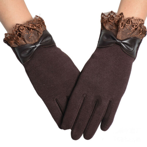 Women Fashion Winter Warm Cotton Lace Touch Screen Leather Riding Drove Gloves