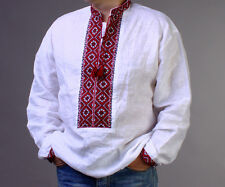 FATHER'S DAY GIFT IDEA Ukraine Embroidery Linen Mens SHIRT Vyshyvanka  Dress 2XL