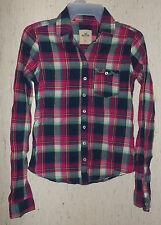 EXCELLENT WOMENS / JUNIORS HOLLISTER NAVY BLUE PLAID SHIRT / BLOUSE  SIZE XS