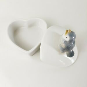 Vintage-Otagiri-Heart-Shaped-Trinket-Jewelry-Box-Blue-Bird-Decorative