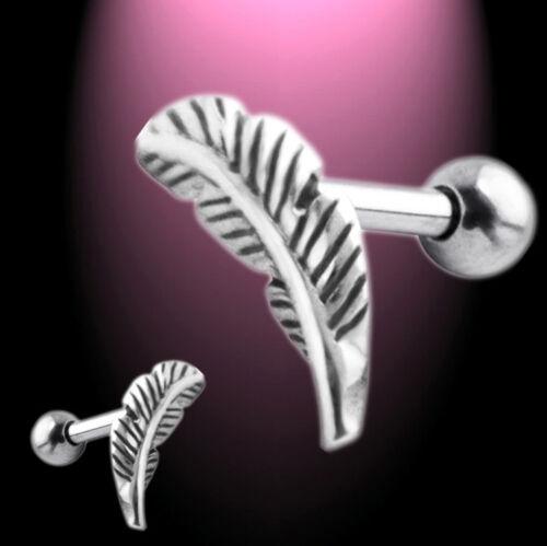 Helix Ohrpiercing Ohrstecker Cartilage Feder Stecker links oder rechts