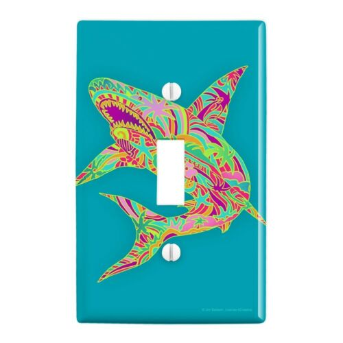 Mosaic Lily Shark Tropical Island Surf Wall Light Switch Plate Cover