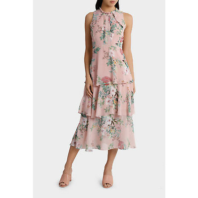 NEW Jayson Brunsdon Black Label Valli Floral High Neck Ruffle Dress Assorted