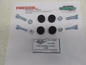 1955-1956-Chevy-Chevrolet-20-271-Adjustable-HOOD-STOPS-amp-BUMPER-KIT-New