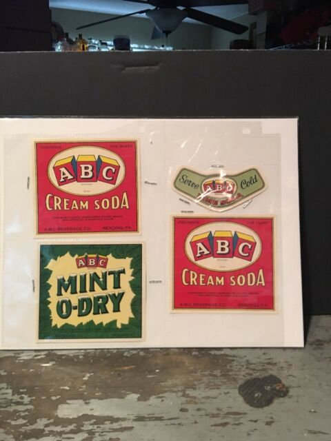 set of 4 abc beverages reading pa soda labels set new old stock ebay