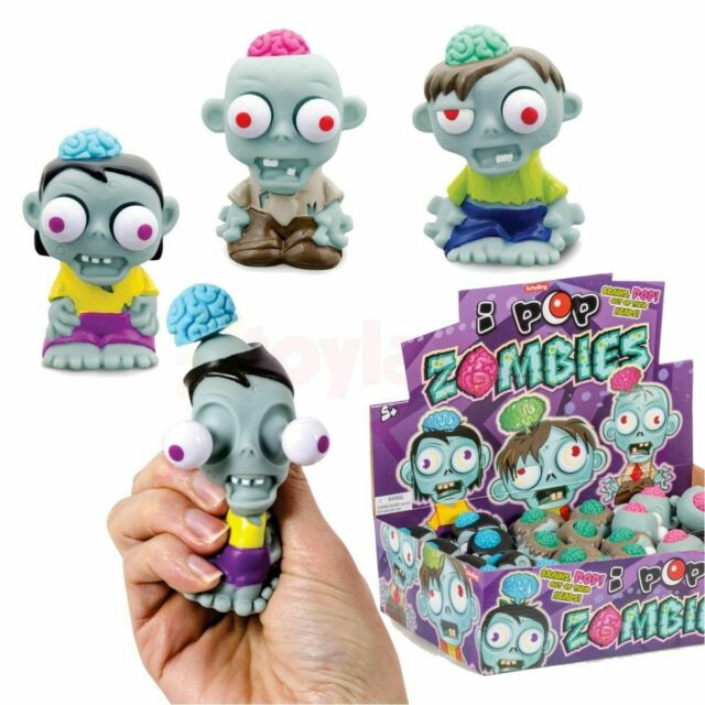 6 x Squidgy Zombie Brain & Eyes Pop Out Popping Fun Kids Halloween Party Bag Toy
