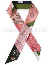 """DIOR floral """"E"""" for Embroidery ABCDIOR MITZAH skinny 2-sided Silk scarf NEW Auth"""