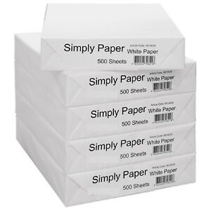 5 x Reams A4 Paper White Printer Copier Multipurpose Printer Box 2500 x Sheets