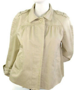 Banana-Republic-Women-039-s-100-Cotton-Fall-Cape-Buttons-Up-Military-Coat-Sz-Medium