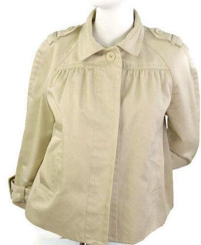 Banana Republic Women's 100% Cotton Fall Cape Buttons Up Military Coat Sz-Medium