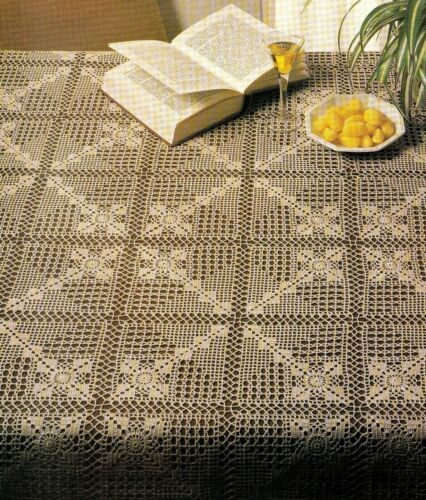 LACY Terrific Filet Tablecloth//Doily//CROCHET PATTERN INSTRUCTIONS ONLY