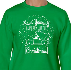 MERRY LITTLE CHRISTMAS Sweatshirt holiday snowglobe vintage crew hoodie fleece
