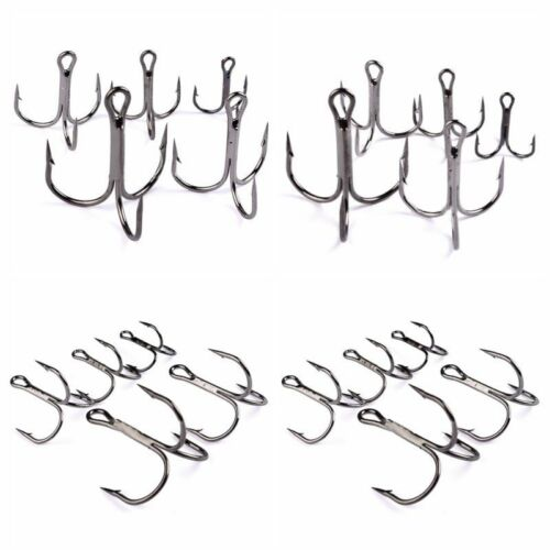 50 Pcs 2# 10# Fishing Hook High Carbon Steel Treble Hooks Fishhook Tackle US