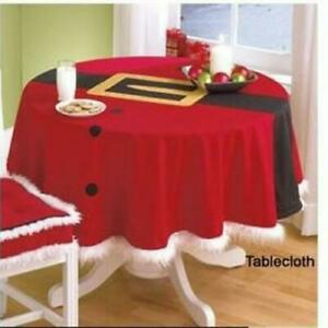 Round-Santa-Table-Cover-Cloth-Cover-Xmas-Christmas-Party-Dinner-Decor-US-Ship