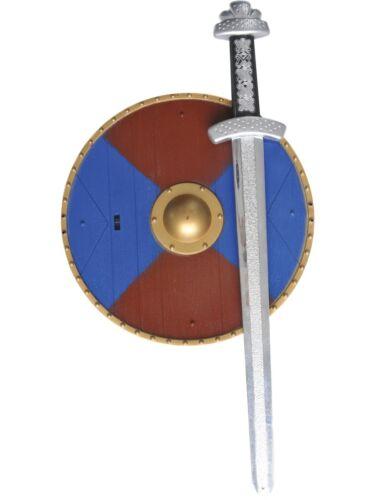 Weapons Set Sword  Shield Kids Roman Gladiator Plastic Fancy Dress Accessory