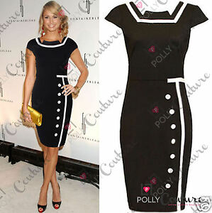 Womens-Black-Cocktail-Smart-Evening-Formal-Ladies-Bodycon-Shift-Pencil-Tea-Dress