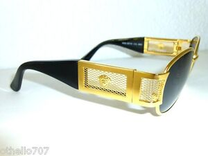 New Rare Vintage Versace 24kt Gold Amp Black Unisex