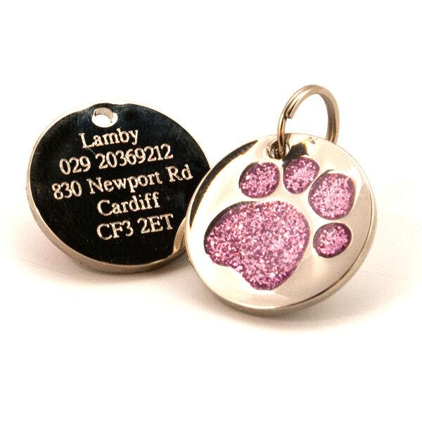 25mm Glitter Paw Print Dog Pet ID Tag Disc Engraved Free