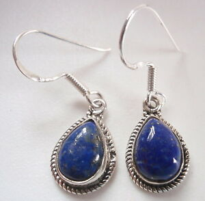 Lapis-Teardrop-with-Rope-Style-Accents-925-Sterling-Silver-Dangle-Earrings