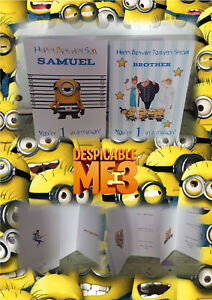 Image Is Loading Personalised Despicable Me Minion Style Birthday Greeting  Card