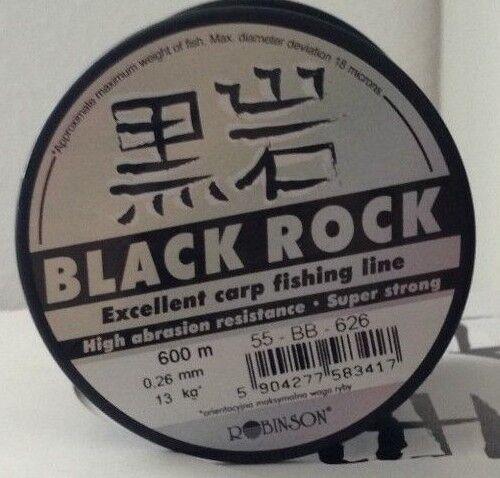 6er Set Robinson schwarz Rock 600m monofile Karpfenschnur.