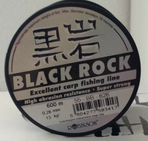 5er Set Robinson Black Rock 600m monofile Karpfenschnur.