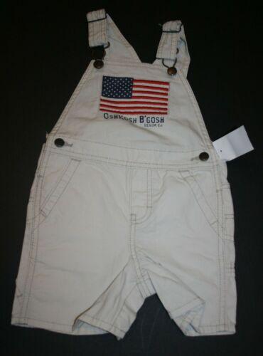 New OshKosh Boys USA Flag Canvas Tan Short Overalls NWT 12m 18m 24m July 4th