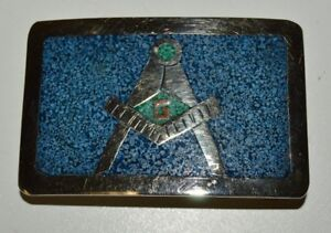 Vintage-Turquoise-Inlaid-FREEMASONS-Silver-Plated-Belt-Buckle-RARE-MINTY