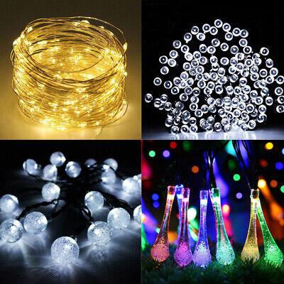 30/50/100/200 Led Energia Solare Luci Giardino Festa Filo Fairy Stringa Festa All'aperto Lampada- Colori Fantasiosi