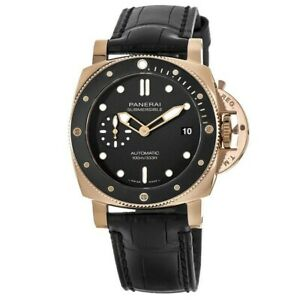 New-Panerai-Submersible-42MM-18kt-Rose-Gold-Case-Leather-Men-039-s-Watch-PAM00974