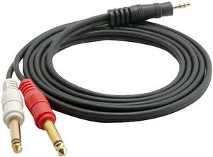 Pyle-Pro-PCBL43FT6-12-Gauge-6-feet-3-5mm-Male-Stereo-to-Dual-1-4-Inch-Male-New