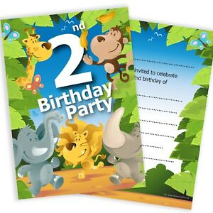 Image Is Loading 2nd Birthday Party Jungle Invitations Ready To Write