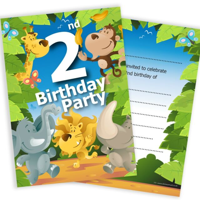 2nd Birthday Party Jungle Invitations