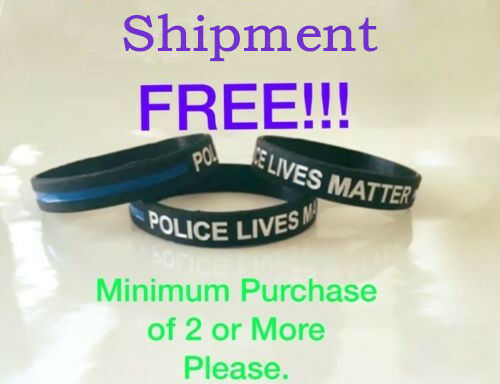 Thin Blue Line Bracelet Police Lives Matter Silicone Support Wristband Ebay