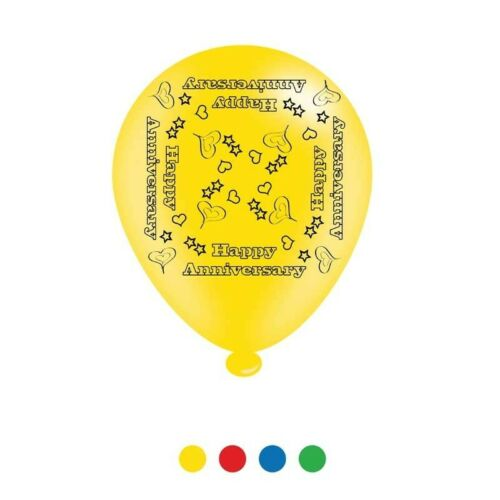 Pack Of 8 Multicoloured Happy Anniversary Latex Party Balloons Air Fill//Helium