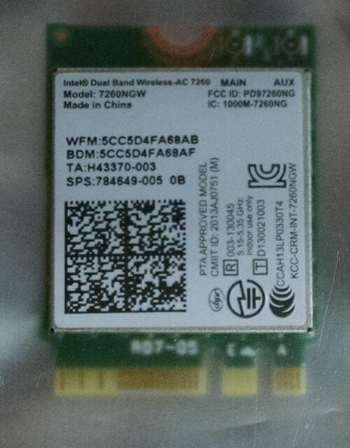 Intel 7260NGW 784649-005 0A Dual Band Wireless-N 7260 Bluetooth 4.0 NGFF Card