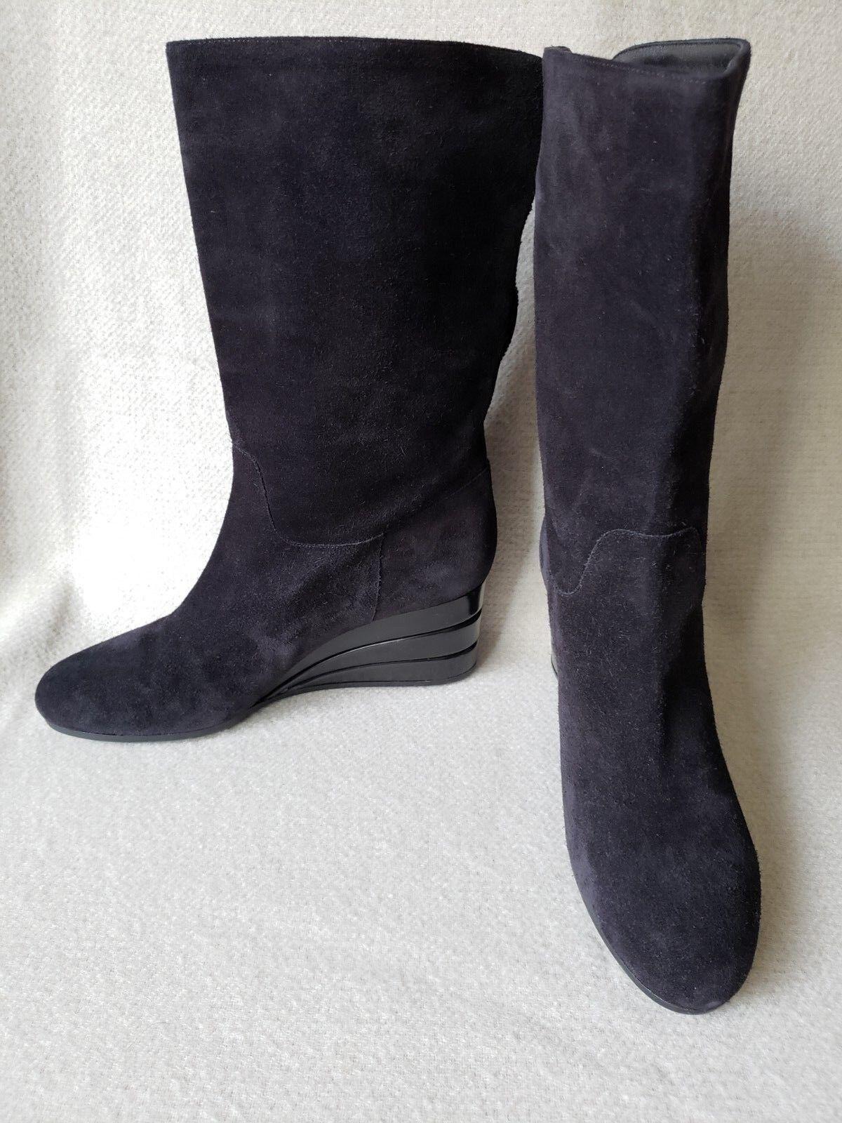 Salvatore Ferragamo 9 mi Gamuza Negra De Invierno Cuña Cuña Cuña Mitad de Pantorrilla Zapatos botas de logotipo Vara  envio rapido a ti
