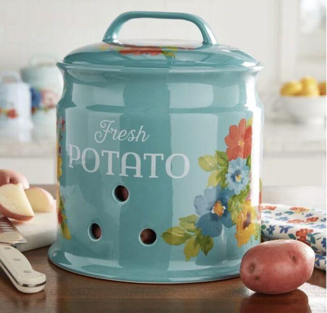 New   The Pioneer Woman   Potato Keeper Ceramic Stoneware Crock Breezy Blossoms